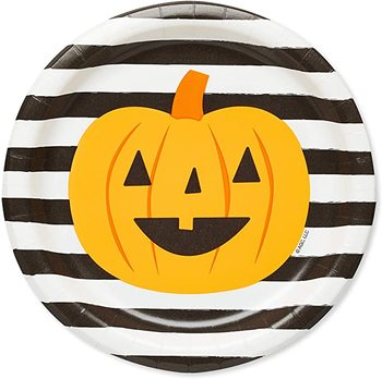 Halloween pumpkin black stripe environment friendly disposable biodegradable fancy paper plates
