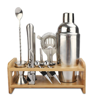 Premium Stainless Steel Mixing Tools Cocktail Shaker Set Bar Tools Accessories with Bamboo Stand