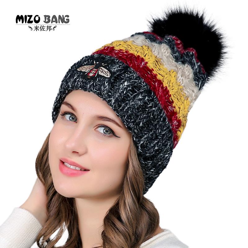 도매 주문 QUEENFUR 여성 니트 Slouchy Beanie Chunky Baggy 모자 가짜 모피 Pompom 겨울 소프트 따뜻한 스키 모자