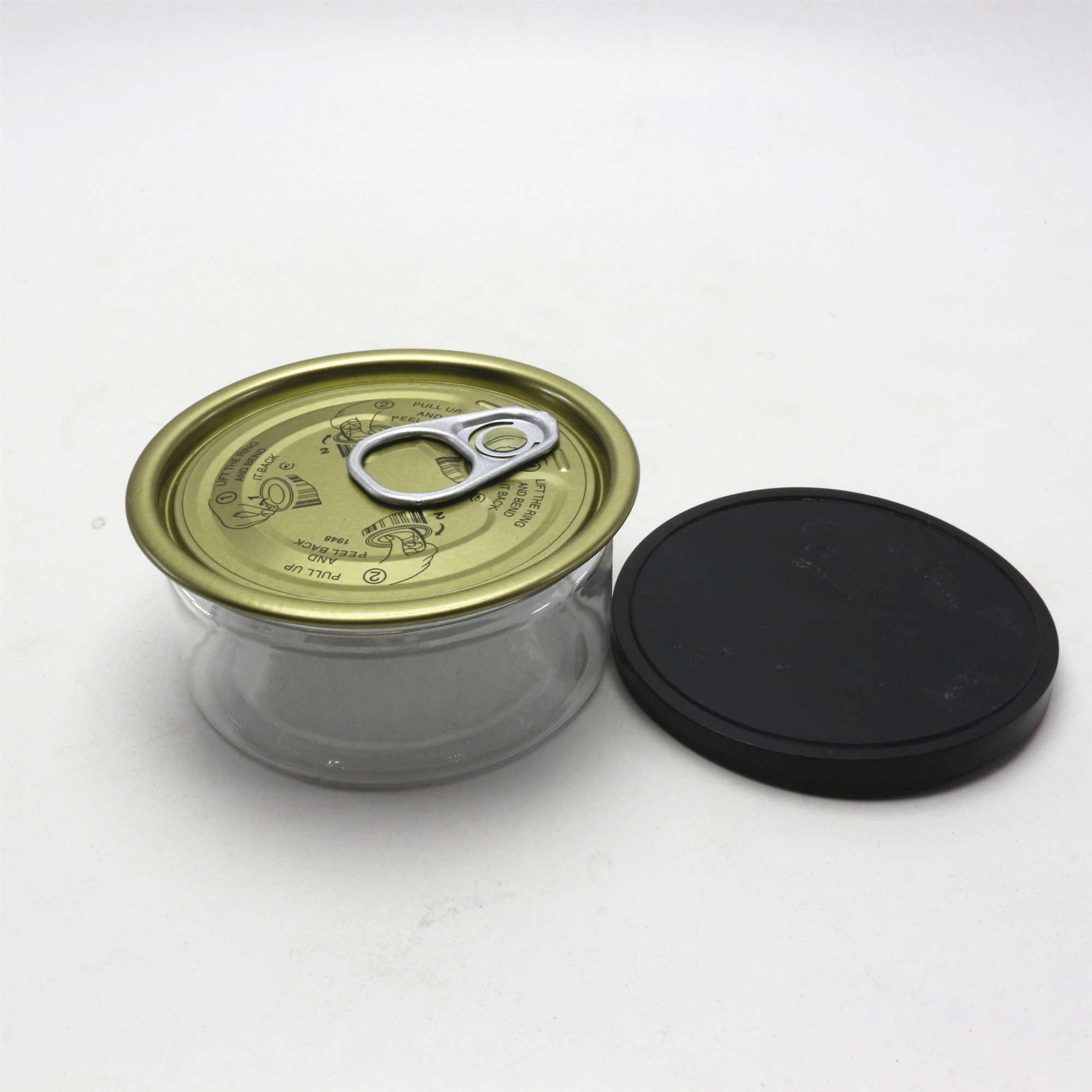 empty pet 100ml clear cans with silver aluminum caps and plastic lids TC-124K