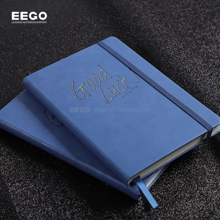 high quality personalized printed logo leather custom a5 dotted pu cover note book with pen holder