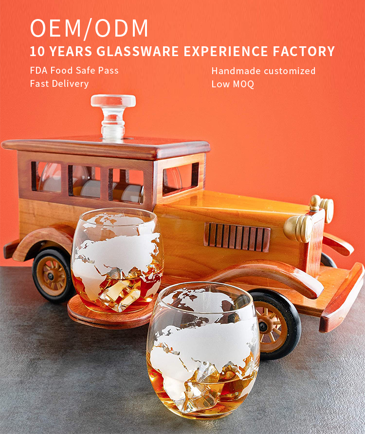 Unique 750ML Hand Made Old Fashioned Car Liquor Glass Whiskey Decanter Set with Metal Spigot