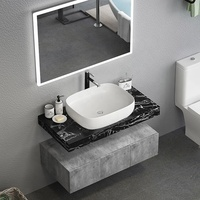 48 Inch Floating Marble Top Bathroom Vanity Cabinet Unit with Sink