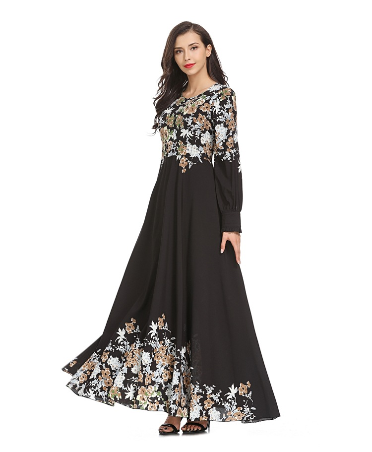 2019 Hot Sale New Designs Fashion Abaya Women Wear Flower Printing Maxi Dress