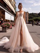 LORIE свадебное платье принцессы с открытой спиной, V-образный вырез, розовый, с разрезом сбоку, кружевной аппликацией, 2020(China)