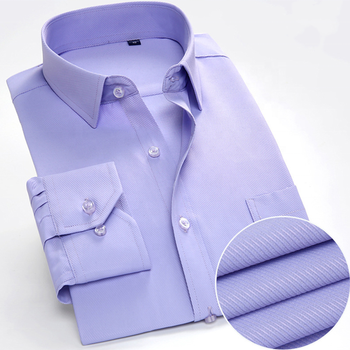 Plus Size New Solid Long Sleeve Men's Cotton Shirt Slim Fit Business Professional Dress Shirts