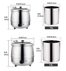 10L Soup Kettle With Lid Catering Equipment Stainless Steel Electric Soup Warmer Keep Warm Pot
