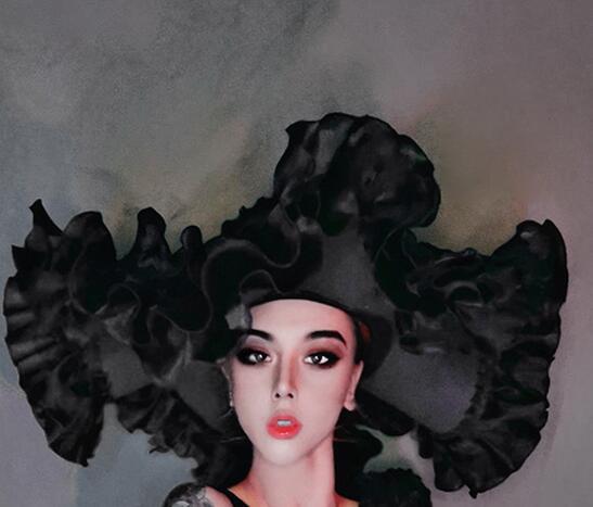 День Святого Валентина бар клуб вечерние танцевальные наряды сексуальный черный цветок кружева одна нога комбинезон шляпа 3-Pieces танцевальн...(Китай)