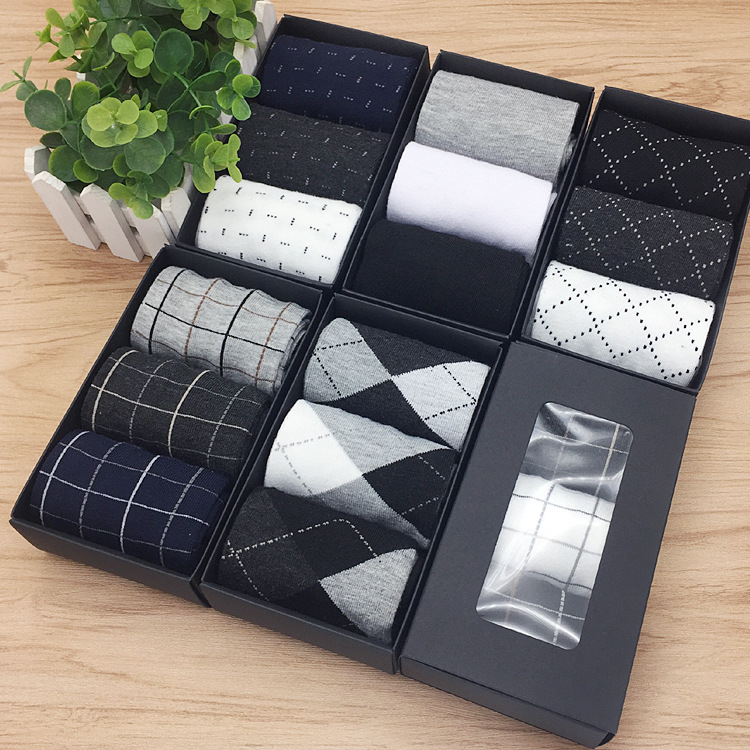 Wholesale 3 pairs fashion cotton men casual dress business custom gift box socks
