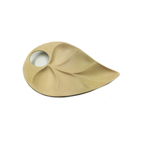 LFGB biodegradable bamboo fiber leaf shape plate