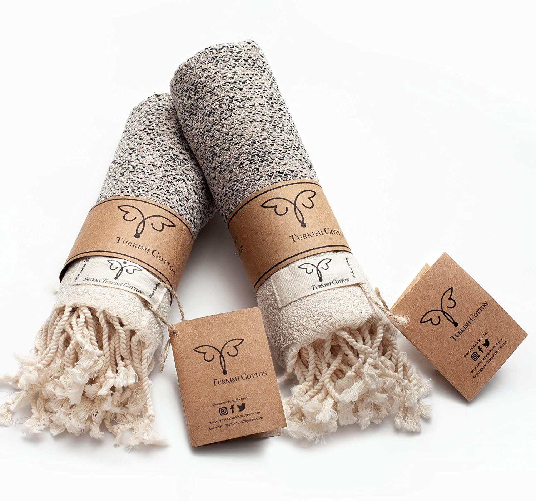 Original Turkish Hand Towels 100% Cotton Prewashed Decorative Bathroom Peshtemal Towel for Hand, Face, Hair, Gym, Yoga, Tea