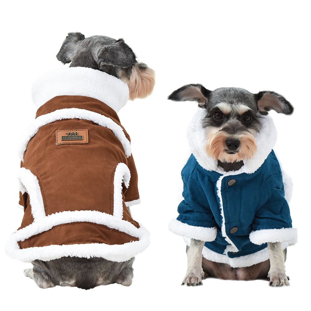 Winter Pet Clothing Windproof Thick Plus Velvet Warm Clothes Jacket Outdoor Comfortable Dog Coat For Small And Medium-Sized Dogs