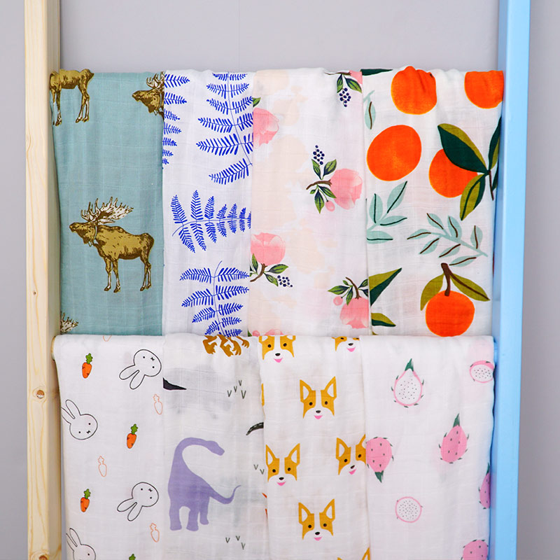 Low MOQ 60*60 Custom Print Muslin Organic Cotton 100% Bamboo Swaddle Fabric