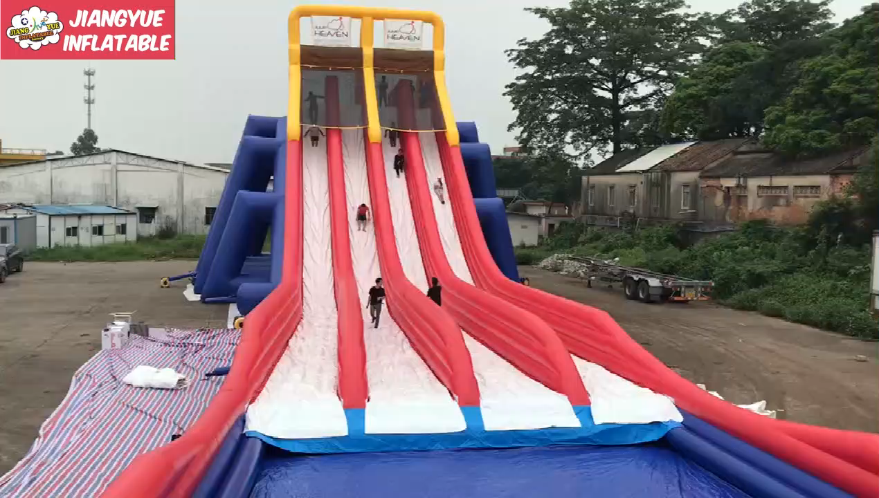 Largest Adult Size Inflatable Water Slide , Commercial Four Lane Inflatable Water Slide For Adult