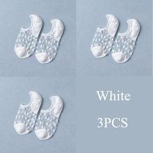 3 пар/компл.. Кружевные носки с кристаллами, летние женские прозрачные шелковые носки с цветами, эластичные невидимые короткие носки-башмачк...(Китай)