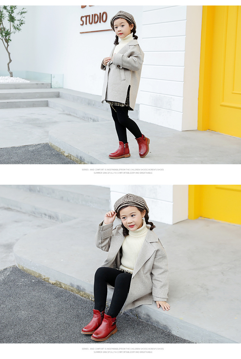 Hot selling kids girl boots leather soft sole wholesale Buckle Strap for girl