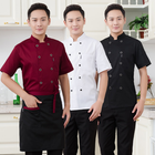 HIgh quality Half Sleeve Poly Cotton Fabric Kitchen Chef Coat Italian Chef Uniform