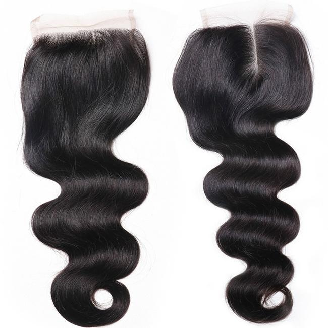 Virgin unprocessed remy peruvian water wave hair bundles with closure