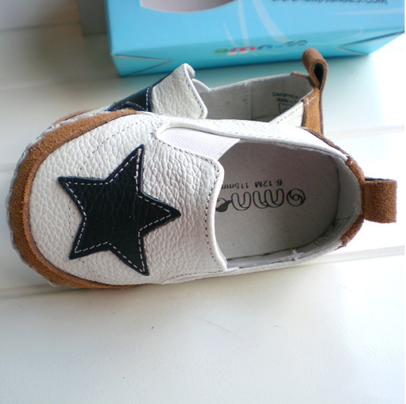 Little Angle Star Style 100% Leather + Rubber Baby Summer Slippers