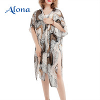 Hot summer vacation women tops trendy kimono loose tunic beach wear cover up