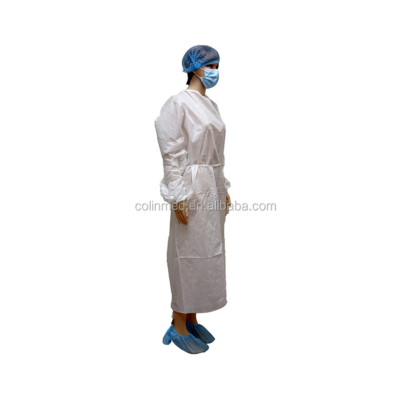 Long Sleeve Gown Disposable PP Safety Gown Clothing With Thumb Loop Non-sterile