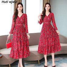 Женское винтажное платье миди с цветочным принтом, красное шифоновое платье с длинным рукавом, элегантные вечерние платья, Осень-зима 2020(Китай)