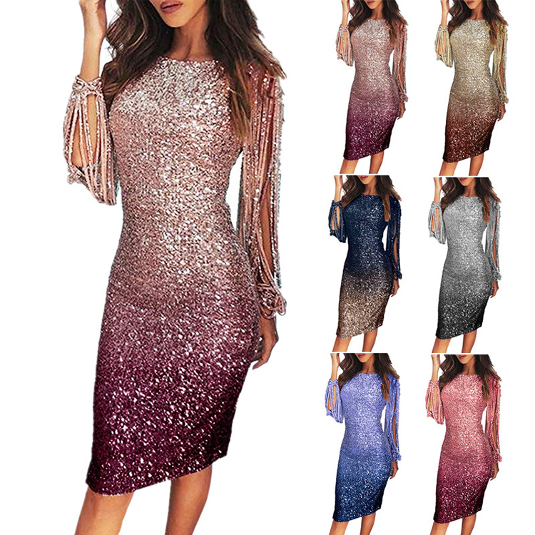 0051512 Wholesale Fashion Long Tassel Sleeve Multi Gradient Color Sequined Women Summer Midi Evening Party Dresses