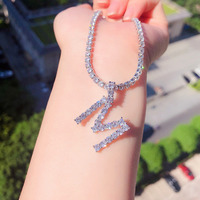 wholesale alphabet cubic zirconia tennis diamond letter initial pendant necklace silver women jewelry