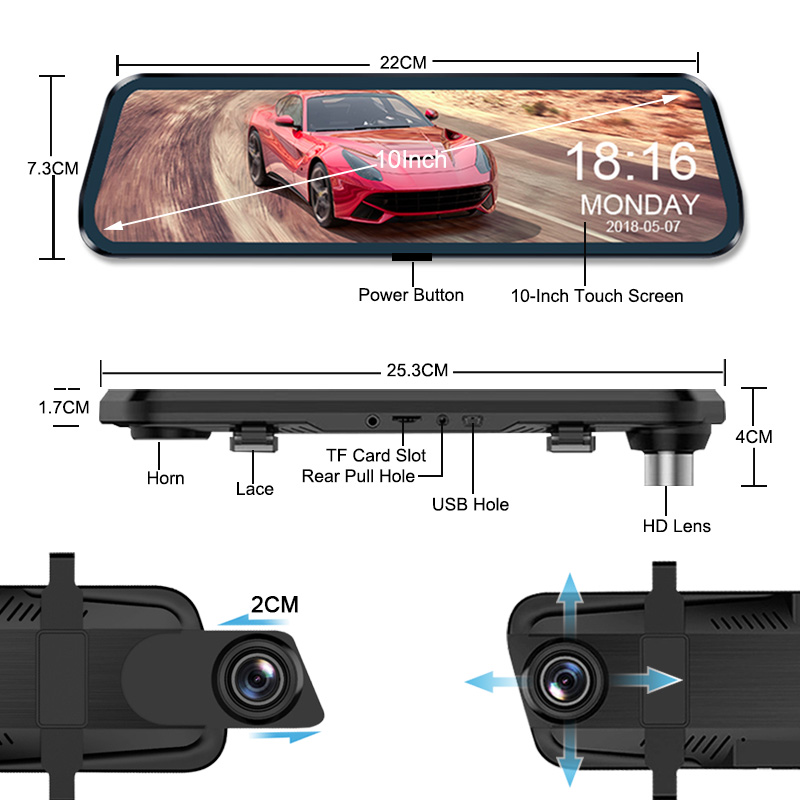 Supplier 10 inch Touch screen Car DVR Rear View Mirror Dash cam Full HD Car Camera 1080P Back Camera Dual lens video Recorder