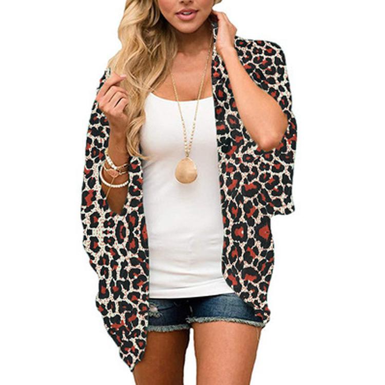 Hot Koop Goedkopere Leopard Gedrukt Oem Chiffon Zonnebrandcrème Overhemd Vest Blouse Zomer Vrouw Tops
