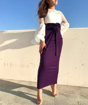 Latest heavy jersey half skirts muslim long slim skirts