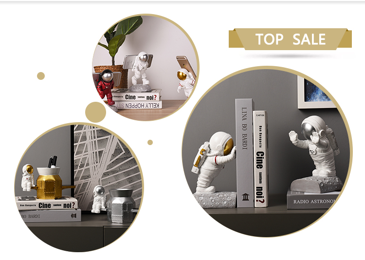 Amazon top sell 2020 Interior Cosmonaut Statue Supplier Book Stopper Home Decoration For Home Decoration