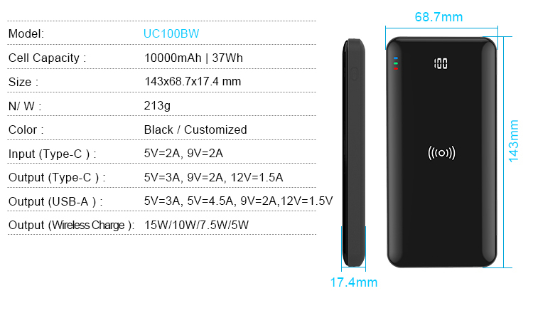 2020 Mirror Slim Fast Wireless Charging Power Bank 10000mAh with Digital Display