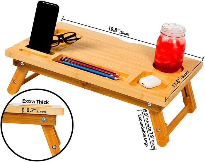 foldable Adjustable Lap Desk, Bed Tray with Phone Slots and Cup Holder