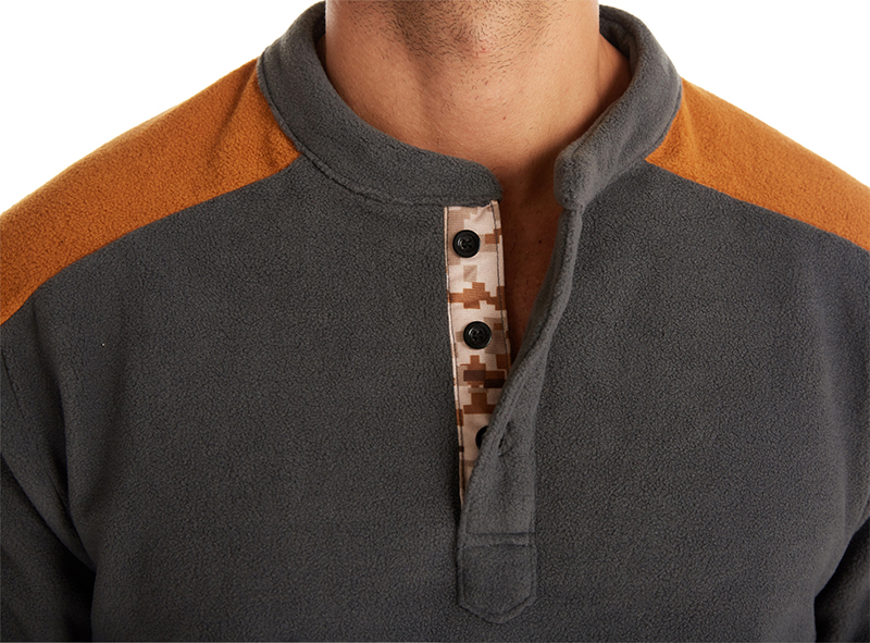 Hoge Kwaliteit Contrast Kleur Polar Fleece Jas Winter Mannen Button Up Ronde Hals Sweatshirt