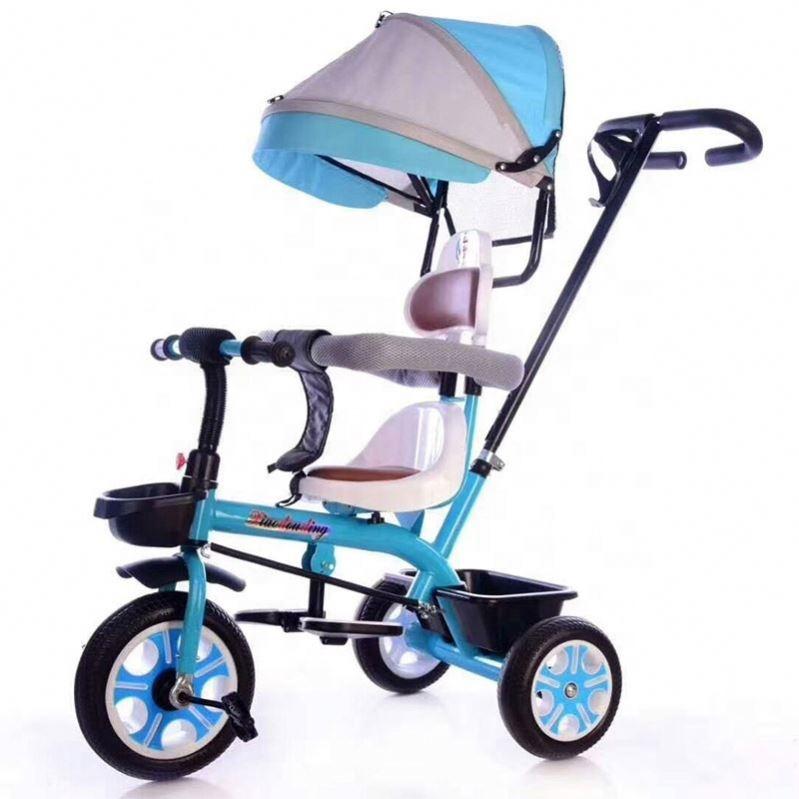 Compre Niño Del Triciclo Del Cochecito Plegable De Tres Ruedas Del Cochecito De Bebé Del Asiento De La Bicicleta Giratoria Coche Convertible Manija
