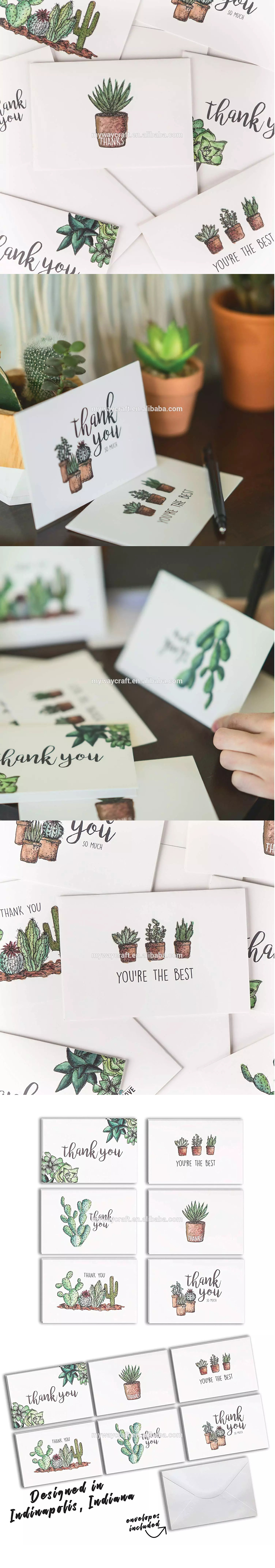 Myway luxury custom thank you card with envelope,greeting cards printing