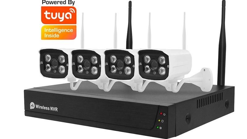 Tuya — caméra de vidéosurveillance ip WIFI P2P, 1080P, NVR, système de sécurité NVR, 4 canaux, sans fil, pour application Tuya, WIFI, CCTV