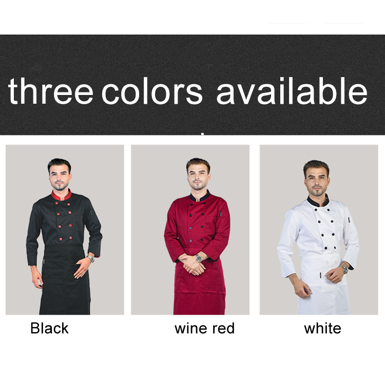 3 Colors Unisex Chef Uniform Restaurant Bakery Kitchen Work Wear Clothing Long Sleeve Breathable Cook Jackets Patchwork Overalls