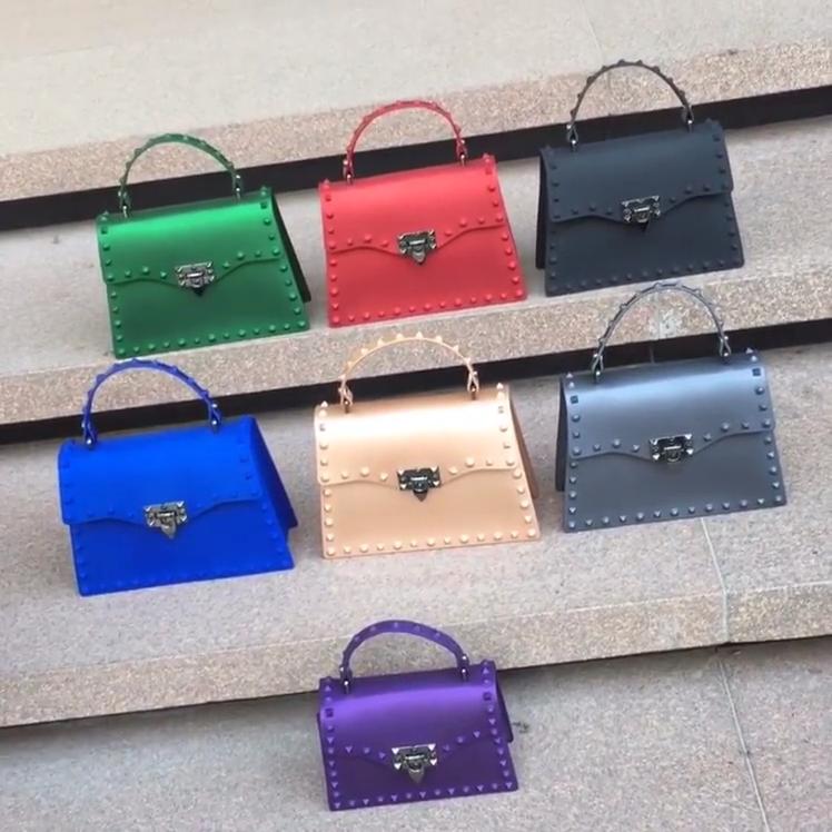 TS9128 2020 इंद्रधनुष रंग कीलक फैशन कंधे बैग पीवीसी जेली बैग फैशन डिजाइनर प्रसिद्ध महिलाओं हैंडबैग के लिए महिलाओं लक्जरी pures