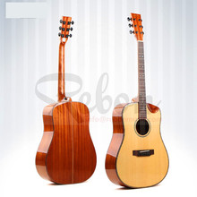 Weifang Rebon 41 Inch Alle Massief Spruce & Mahonie Akoestische <span class=keywords><strong>Gitaar</strong></span> Met Real Abalone Binding