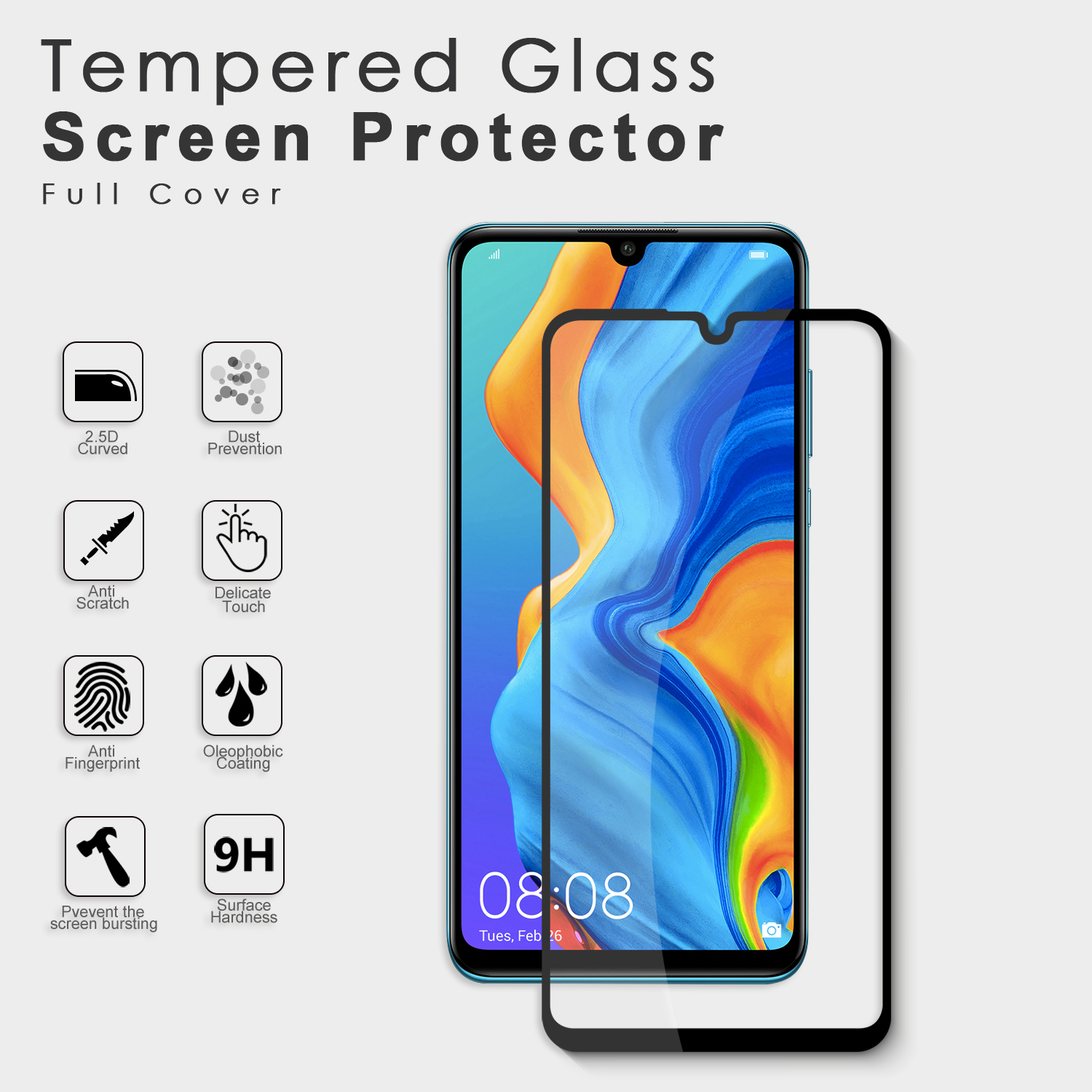Factory supplier 2.5D 9h hardness anti shock screen protector solution screen cover for Huawei P30 Lite 2020