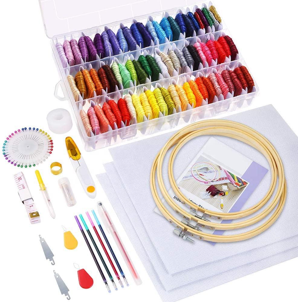 164 Pieces DIY Handcraft Needlework Embroidery Floss Cross Stitch Thread Hoop Kit