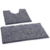 2 pieces microfiber shaggy chenille anti slip bath mat toilet rug set