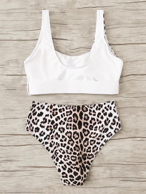 KY sexy new design Leopard Buckle Front Top With high waist bikini set