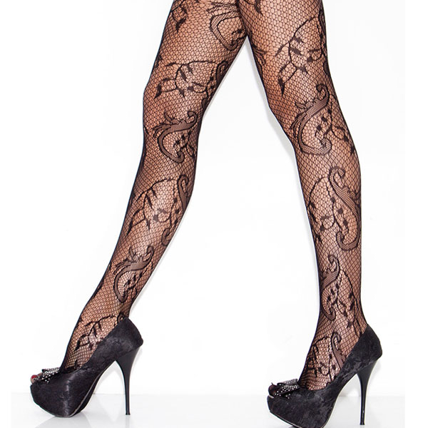 Transparent noir floral tourbillon résille sexy collants filles