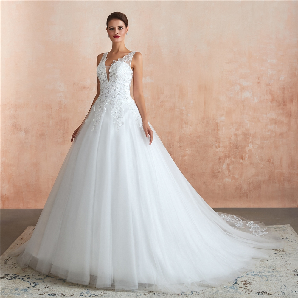 Cheap Ball Gown Wedding Dress Bridal Gown  Lace Applique Wedding Dresses 2020 Africa Wedding Dress Vestido De Noiva