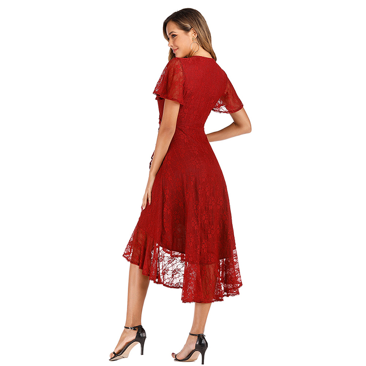 Elegant Short Sleeve High Waist Lace Irregular Hem Sexy Night Clothes Evening Dresses 2019