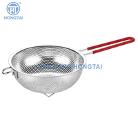 stainless steel square ear kitchen mesh strainer colander / comfortable grip