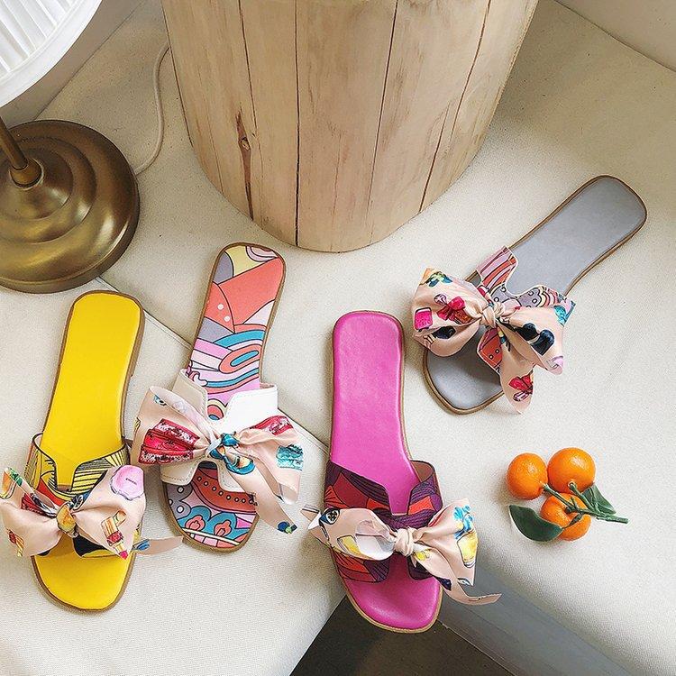 wholesale Summer Popular Women Slide sandal with Bow Decoration Ladies Slipper Printed Flat Slides for girl